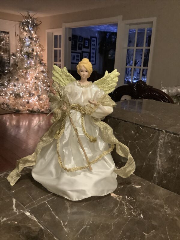 """Christmas Angel Tree Topper Ivory Gold 12"""""""