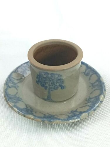 Candle Holder with Plate Pottery Ceramic Gray w/ Blue Trees