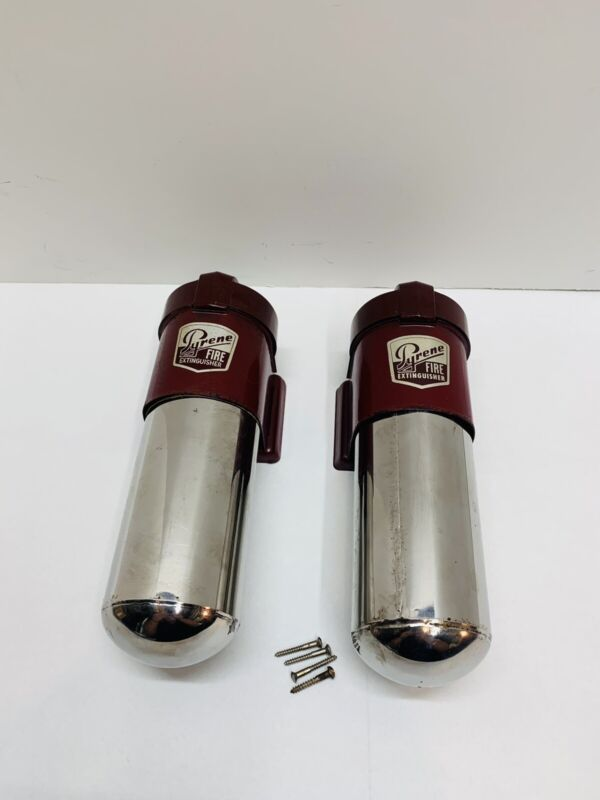 Vintage Pyrene Stainless Steel Wall Mount Fire Extinguisher w/ Bracket (Empty)