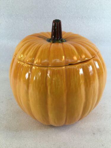 Small Ceramic Pumpkin Cookie Jar / Candy Dish