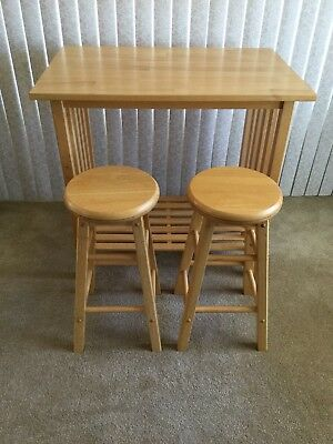 "Breakfast Nook Table Bar with 2 Bar Stools - L 35 1/2"" W 23 1/2"" H 34"" Stool 25"""