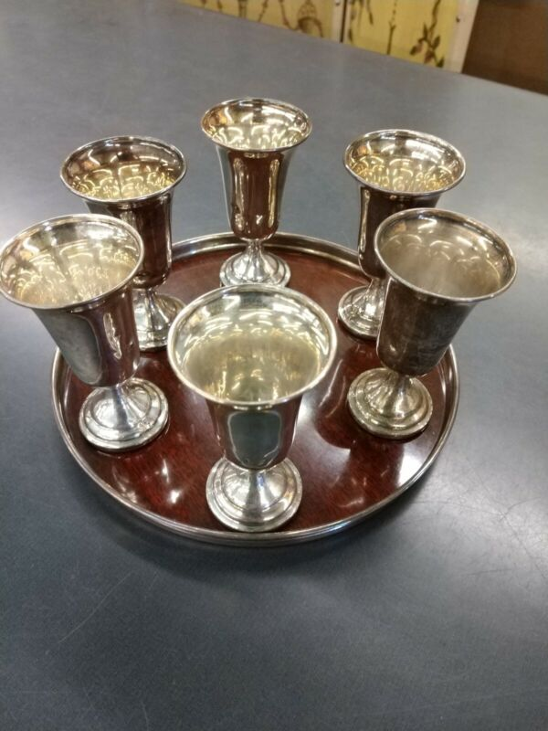 VINTAGE SILVER GOBLET CORDIAL WITH TRAY SET