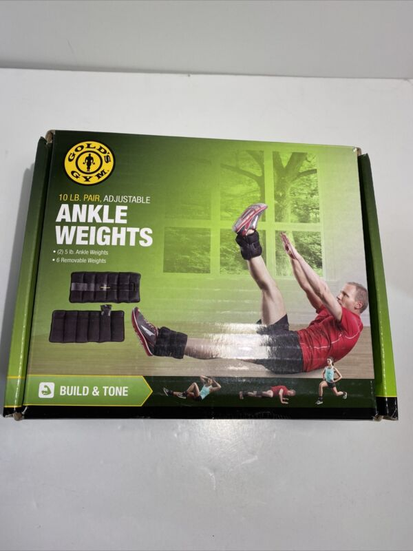 GOLDS GYM 10 lb. Pair of Adjustable Ankle Weights Fitness Workout - NEW Open Box