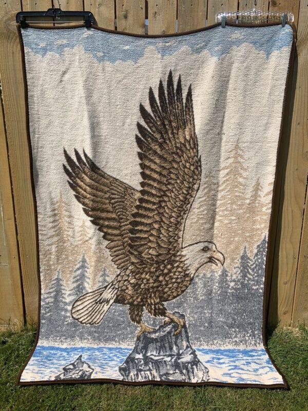 Vtg San Marcos Bald Eagle Blanket Reversible Beautiful River Rock Scene 73x52