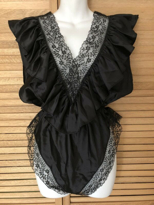 Vintage Lily Of France Black Lace Teddy Nightie Lingerie Romper 80s