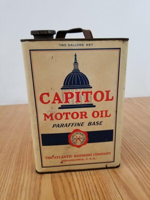VINTAGE Atlantic Capitol 2 Gallon Motor Oil Can graphics Philadelphia PA metal