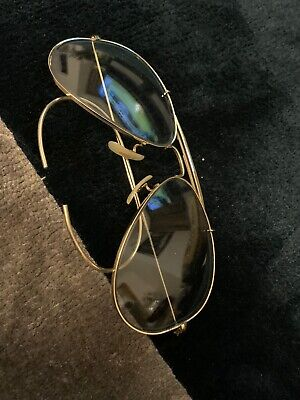 Vintage Ray Ban B&L OUTDOORSMAN GREY CHANGEABLES Sunglasses 58mm aviator gold