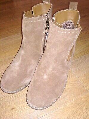 "Khombu ""Liz"" - Memory Foam Suede Leather Wedge Ankle Boots - Chestnut Size UK 7"