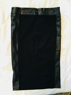 BNWOT Kikiriki Black Faux Leather Panel Skirt - size S
