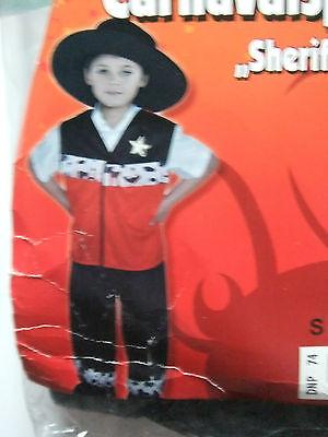 Fasching Karneval  Jungen Faschings-Kostüm Sheriff Gr. M 7 -10 Jahre 3 teilig ()