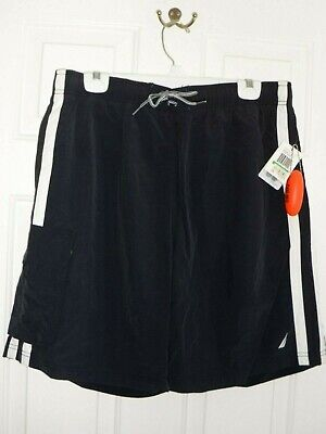 Nautica Mens Black White Elastic Swim Trunks NWT - Size Large, 34W - 38W