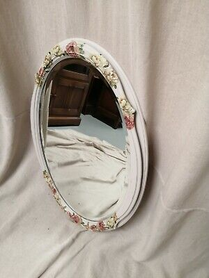 Painted Oak Mirror with With Floral Decoupage.