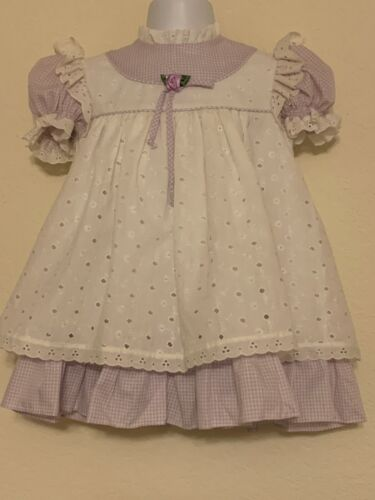 Vintage Bryan 4T Lavender Gingham Dress Attached Eyelet Pinafore Puff Sleeves