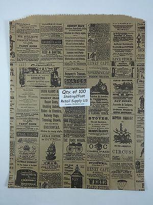 100 Qty. 12 X 15 Newsprint Design Paper Merchandise Bag Retail Shopping Bags