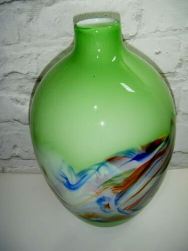 """Large Green & Multi Coloured End Of Day Spatter Glass Vase - 12.5"""""""