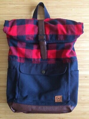 NWOT! Authentic Abercrombie Kids Navy & Red Plaid Check School Backpack