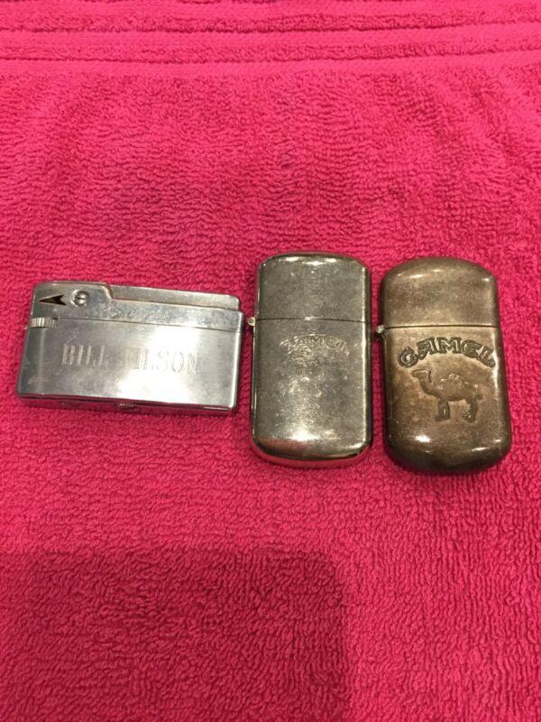 Vintage Lighter Lot - 2 Camel Lighters & 1 Aurora Lighter