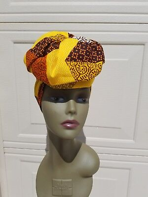 Brown And Yellow Headwrap; African Headwrap; African Clothing; African Fabric