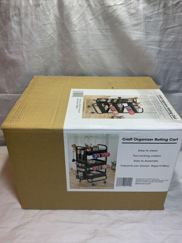 3 Tier Metal Rolling Cart Organizer Storage Arts Crafts Wrapping Bar Cart Food