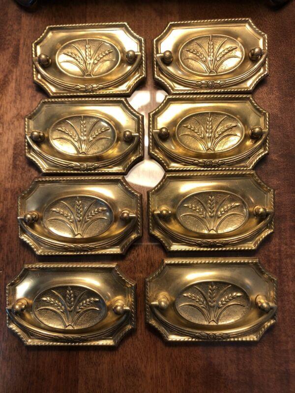 Antique Brass Wheat Design Pulls / Hepplewhite/ Set Of 8