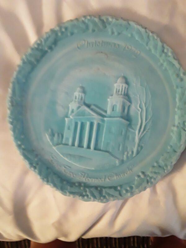 "Fenton"" Vintage""1972 Christmas  Satin Glass Plate ""FIRST CONGREGATIONAL CHURCH"""
