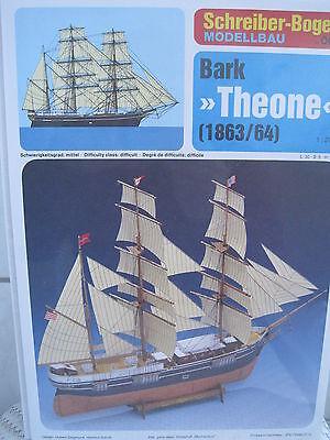 Bark Theone Segelschiff Schiff Kartonbausatz *NEU* Schreiber- Bastelbogen (Weiße Bau Papier)