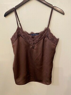 Abercrombie & Fitch Lace-Trim Cami Terracotta Red-Brown Small