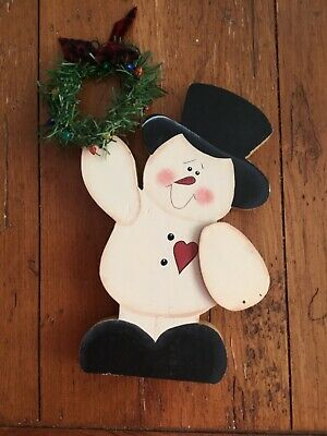 Christmas Snowman Door Knob Hanger Farm House Decor Hand Painted Wood  Snowman Door Knob