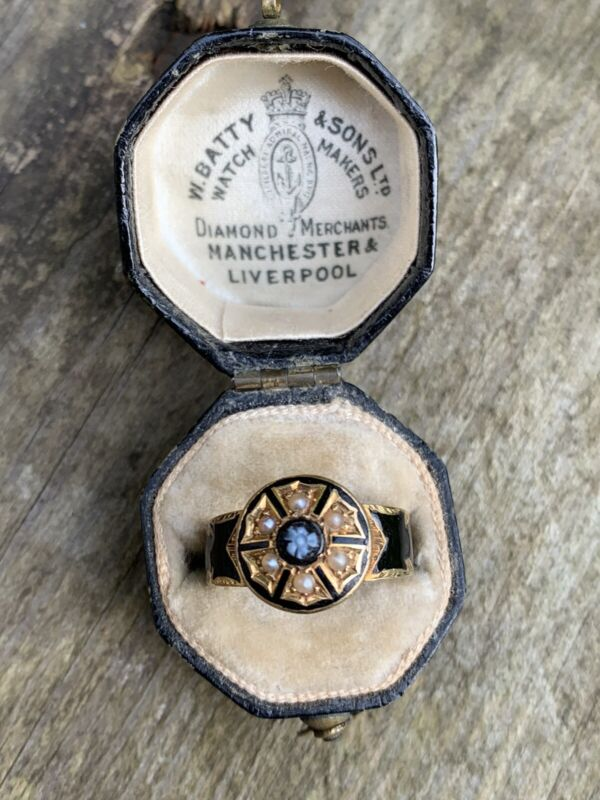 Victorian Carved Sardonyx And Pearl Black Enamel Mourning Ring.