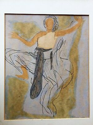 ORGINAL AUGUSTE RODIN PAINTING WATERCOLOR AND PENCEL ON PAPER SIGNED FRAMED