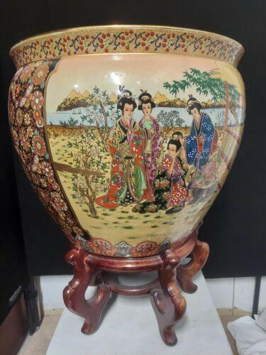 Vintage Chinese Satsuma Style Koi Fishbowl Porcelain Planter Brown Wood Stand