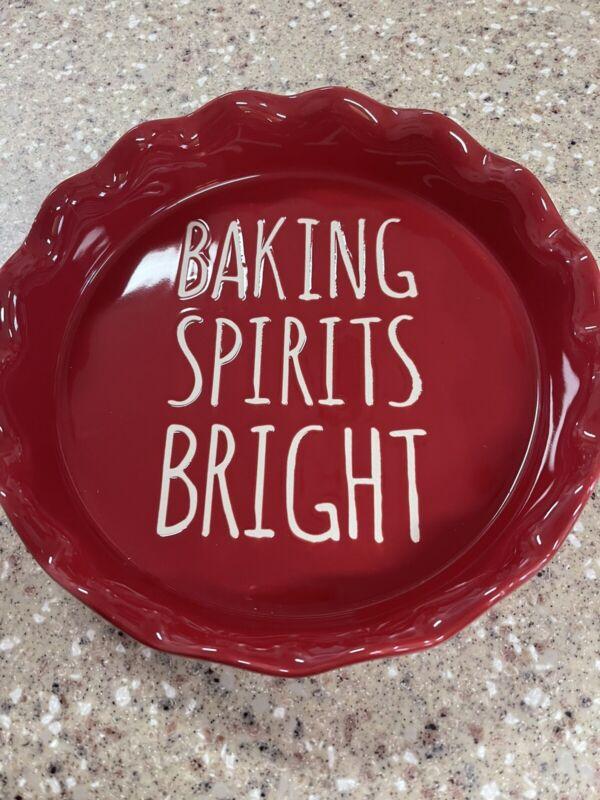"Rae Dunn INSPIRED ""Baking Spirits Bright"" Christmas Red Pie Plate/Dish 9"" NEW"