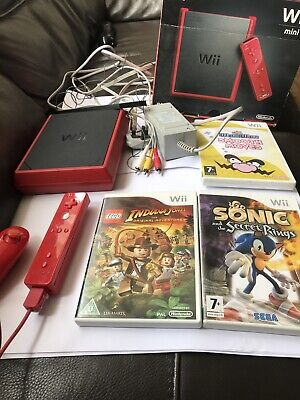 Nintendo Wii Mini Console Bundle, Boxed With 3 Games Sonic Wario Lego Indiana