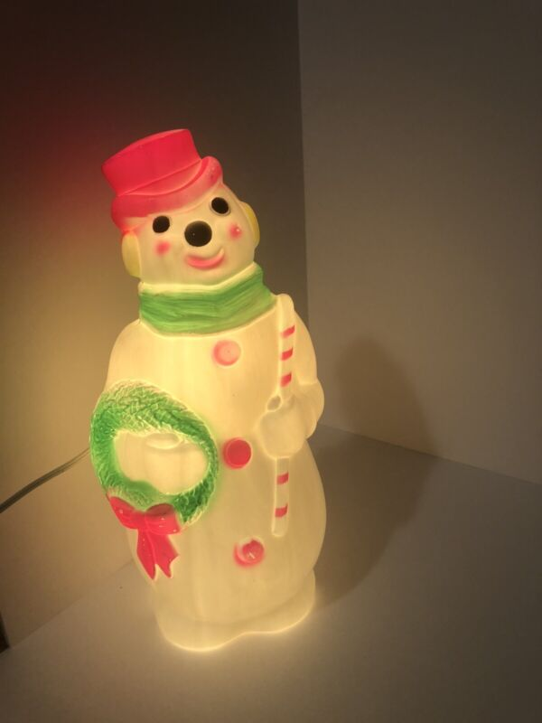 """Vintage 1968 Lighted Empire Blow Mold Snowman with Neon Pink Hat - 13"""" USA"""