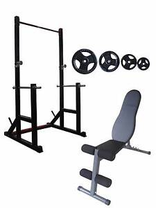 Squat Rack, FID Bench and Olympic Bar and Weights Package Osborne Park Stirling Area Preview