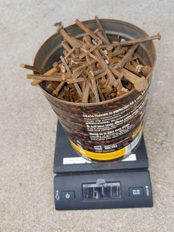 5 Pounds square head nails antique square wrought iron vintage rustic asst sizes