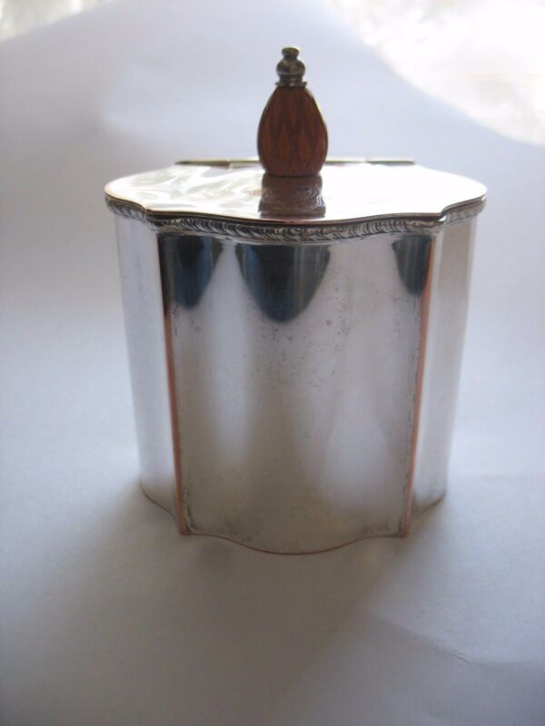 Vtg silverplate copper tea caddy by Israel Freeman and Sons w/carved finial IFS