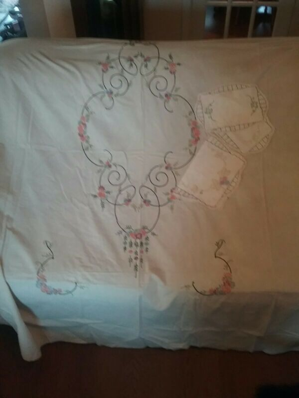 Antique Hand Embroidered Bed Cover with Coordinating Doilies