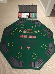 Poker Table Board and Poker Chips including carrying cases
