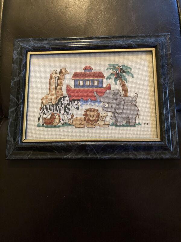 Needlepoint Noah's Ark Animals Framed