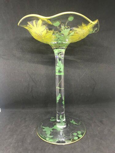 Mt Washington Napoli Art Glass Chrysanthemum Decorated Compote-Stunning & Rare