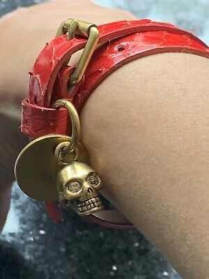 Authentic Alexander McQueen Double Wrap Leather Red Bracelet With Gold Skull
