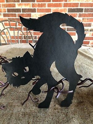 "Vintage Halloween Black Cat,Standing,Arched Back  Cardboard Decoration, 10"" Tall"