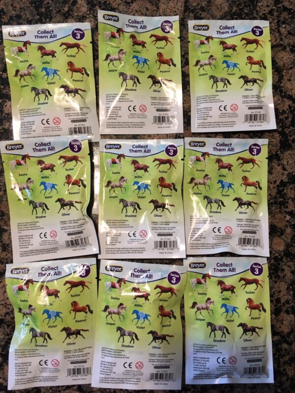 Breyer Mini Whinnies Horse Surprise. Series 3. Lot Of 9 Packages.