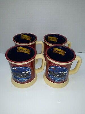 The Polar Express Train Ride Believe Christmas Hot Chocolate Coffee Mug Set of 4