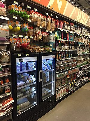 2 Door Commercial Glass Door Refrigerator Cooler Merchandiser 4 Ft Wide
