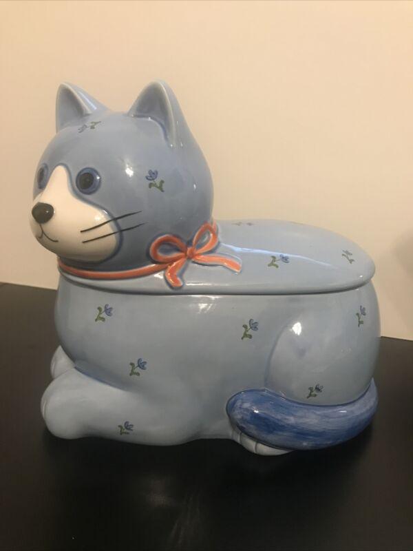 Vintage Otagiri Japan Whimsical CAT Ceramic Cookie Jar Blue Floral