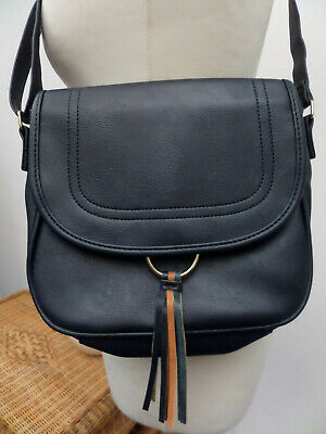 Navy Blue Small Shoulder Bag With Tassles By Nathalie Andersen Brand New