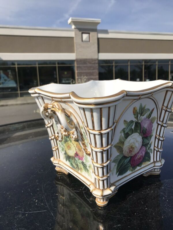19th C Minton Gilt Cache Pot w Hand-Painted Bird 4 Flowers Diff Panels Undertray