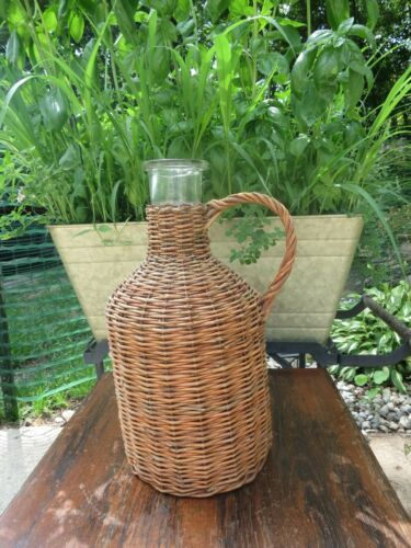 Vtg Glass Demijohn Bonbonne Widemouth Wine/Brandy Bottle Wicker Rattan Wrapped